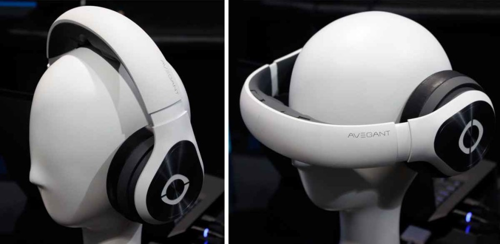 """Avegant Glyph Virtual Reality Headset has two positions - """"Old School"""" headphones and pull visor down for VR"""